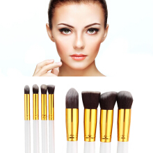 Pro 8Pcs White Handle Makeup Cosmetic Blusher Powder Foundation Brush Set