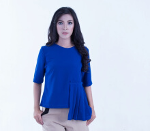 Rianty Basic Atasan Wanita Blouse Luna - Blue Blue All Size