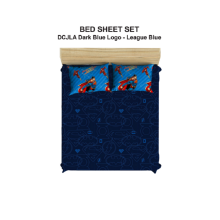 PILLOW PEOPLE Bed Sheet Set DC Justice Leagueof America - Dark Blue Logo & Blue League / 160x200cm