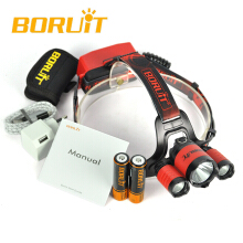 BORUIT B21 6000LM XM-L2+2*XPE Headlamp LED 18650 PCB Battery Hunting Headlamp Micro USB Headlight Torch fishing Cycling Red