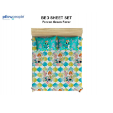 PILLOW PEOPLE Bed Sheet Set - Frozen Green Fever / 160x200cm