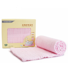 PurCotton box 5 layers combed washable cotton gauze bath towel pack80x140cm Pink 1 piece/box