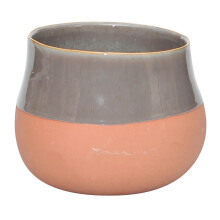 VIVERE Vase Deco Simply Bata - Gray & Orange / 18X18X14Cm