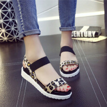 BESSKY Fashion Sandals Women Aged Leather Flat Sandals Ladies Shoes_