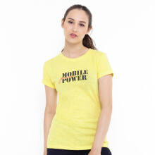 Mobile Power Ladies T-shirt Mobile Power Text Screen Printing - Yellow TS028 Yellow All Size