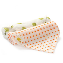 PurCotton Triangle Baby Gauze Napkin 62x43cm Lime+Orange Star 2piece/bag