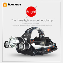 Lomon 3 LED Headlamp White Red Light Three Lights Source CREE T6 18650 Rechargeable Battery + Charger Head Torch Flashlight Brightest
