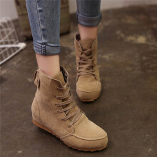 BESSKY Women Flat Ankle Snow Motorcycle Boots Female Suede Leather Lace-Up Boot_