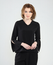 Rianty Basic Atasan Wanita Blouse Alena - Black Black All Size