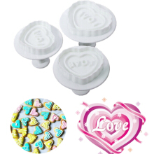 JDWonderfulHouse JDwonderfulhouse 3x Love Heart Cake Decorating Mold/ Plunger Mold - White