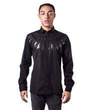 Neil Barrett Men Black Lightning Bolt Print Long Sleeve Shirt