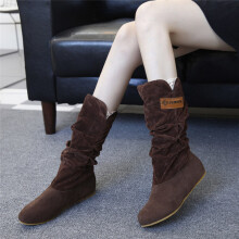 BESSKY Woman knee High Boots Flat Heel Nubuck Motorcycle Boot Autumn Winter Shoes _