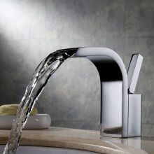 LANGFAN J4852 Sliver Color Waterfall Bathroom Sink Faucet Deck Mount One Hole Single Handle Mixer Tap