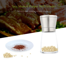 2pcs Stainless Steel Manual Salt Pepper Mill Grinder Kitchen Tool