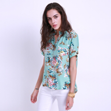 ZANZEA Women's Button Down Floral Printed Short Sleeve Shirt - Multicolor