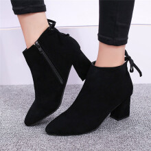BESSKY Women Boots Square Heel Lace Up Ankle Boots Martin High Heels Platform Boots_