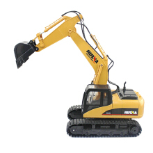 HUINA RC Alloy Excavator RTR with Independent Arms Programming Auto Demonstration Function Yellow