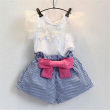 BESSKY Girls Lace T-shirt+Stripe Shorts Set Clothes Suit_