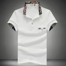 Stylish Turn Collar Short Sleeve Spliced Printed Sheathy Shirt for Men