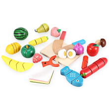 20pcs Wooden Cutting Fruits and Vegetables Barreled Toy