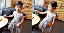 Han Edition Girls Princess Dress Jewel Collar Solid Color Asymmetric Gauze