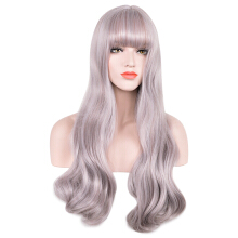 Soft Long Wavy Synthetic Hair Wigs with See-through Bangs for Women
