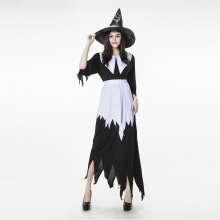 Scary Halloween Costume Black Witch / Women's Long Dress With Hat