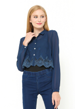 INSTYLE BY SURI Ann Crop Top - Navy  [All Size]