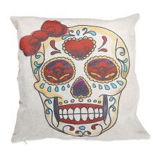 Skull Pattern Cotton Linen Pillow Cushion Cover Home Decor COLORMIX TYPE C