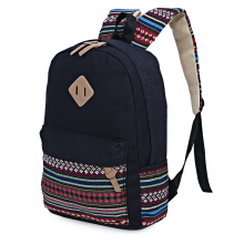 Guapabien Ethnic Style Floral Embroidery Striped Canvas Portable Backpack for Girls