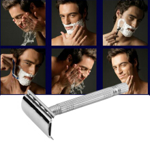 Silver Durable JunJie JJ-6338 old style double blade razor shaver sharp veneer