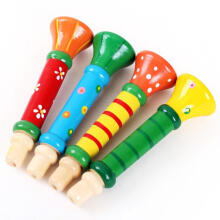BESSKY Baby kids Wooden Horn Hooter Trumpet Instruments Music Toys - Multicolor