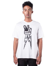 Neil Barrett Men Tshirt White Peace Sign Print T shirt Crew Neck L