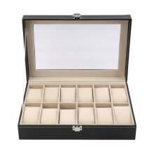 12 Slots Grid PU Leather Watch Display Box Jewelry Storage Organizer Case