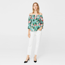 MANGO Tropical Print Blouse - Multi