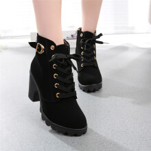 BESSKY Womens Fashion High Heel Lace Up Ankle Boots Ladies Buckle Platform Shoes-
