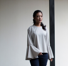 Rianty Basic Atasan Wanita Blouse Levie - Gray