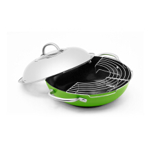 "ECOPAN Fusion Wok With Stainless Steel Cover Ceranon Ceramic - 16"" / 40 Cm  Shiny Green"