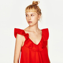 ZARA Frilled Top - Orange