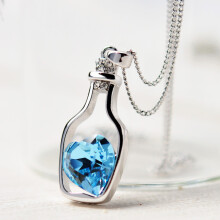 BESSKY New Women Ladies Fashion Popular Crystal Necklace Love Drift Bottles -