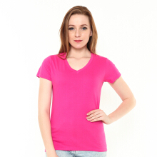 STYLEBASICS Ladies V-Neck Basic T-shirt - Heliconia Pink
