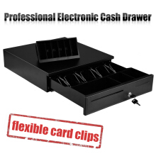 Excelvan Black Heavy Duty Cash Drawer With 4 Bills & 8 Coins(1 Row) Tray & 1 Cheque Slots