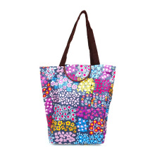HK Shopping Bag Flowers - Grey 39x37x13cm