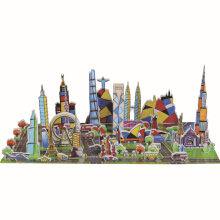 3D Puzzle Earth City Building Block Toy for Children