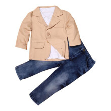 BESSKY 3pcs Kids Baby Boy Gentleman Coat+Shirt+Jeans Pants Trousers Clothes Outfits Set_