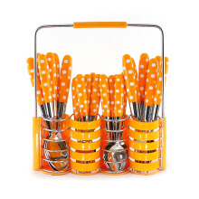 VICENZA Sendok Set 24 Pcs V245C - Motif Polkadot / Orange