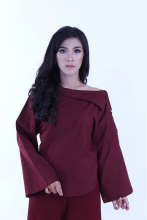 Rianty Basic Atasan Wanita Blouse Femme - Red - All Size Red All Size