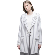 HATTACO  BY RANI HATTA O-Ring Blazer - Stripe Grey