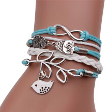 BESSKY Handmade Infinity Silver 8 Owl Leaf Bird Leather Bracelet Wristband- Multicolor