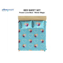 PILLOW PEOPLE Bed Sheet Set - Frozen Love Blue & Winter Magic / 160x200cm